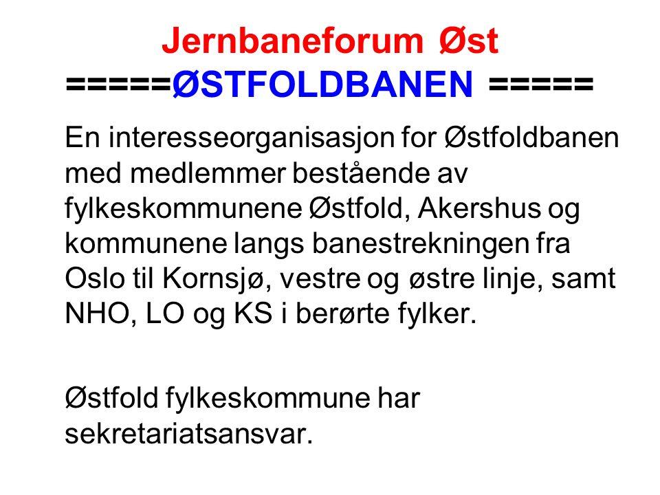 Jernbaneforum Øst =====ØSTFOLDBANEN ===== En interesseorganisasjon for Østfoldbanen med medlemmer bestående av fylkeskommunene Østfold, Akershus og kommunene langs banestrekningen fra Oslo til Kornsjø, vestre og østre linje, samt NHO, LO og KS i berørte fylker.