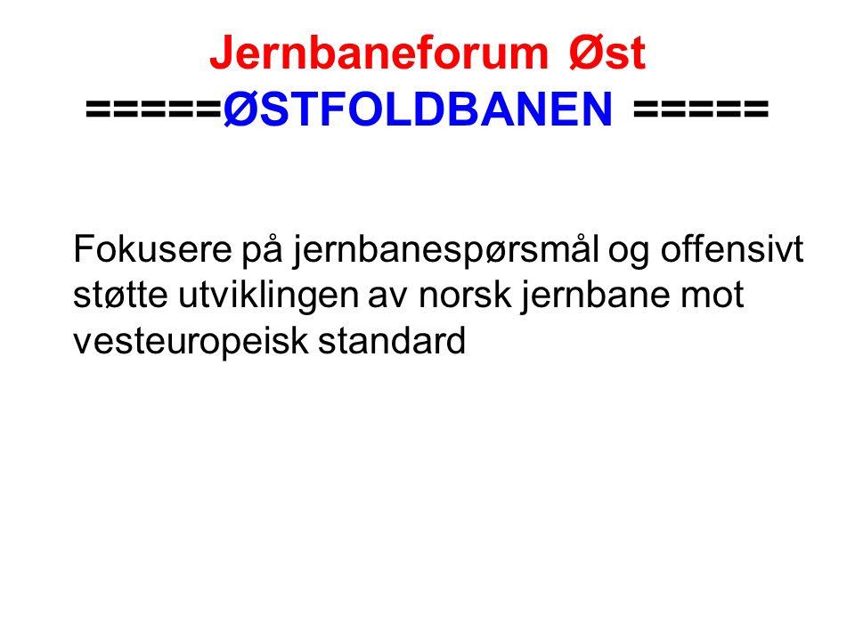Jernbaneforum Øst =====ØSTFOLDBANEN ===== Fokusere på jernbanespørsmål og offensivt støtte utviklingen av norsk jernbane mot vesteuropeisk standard