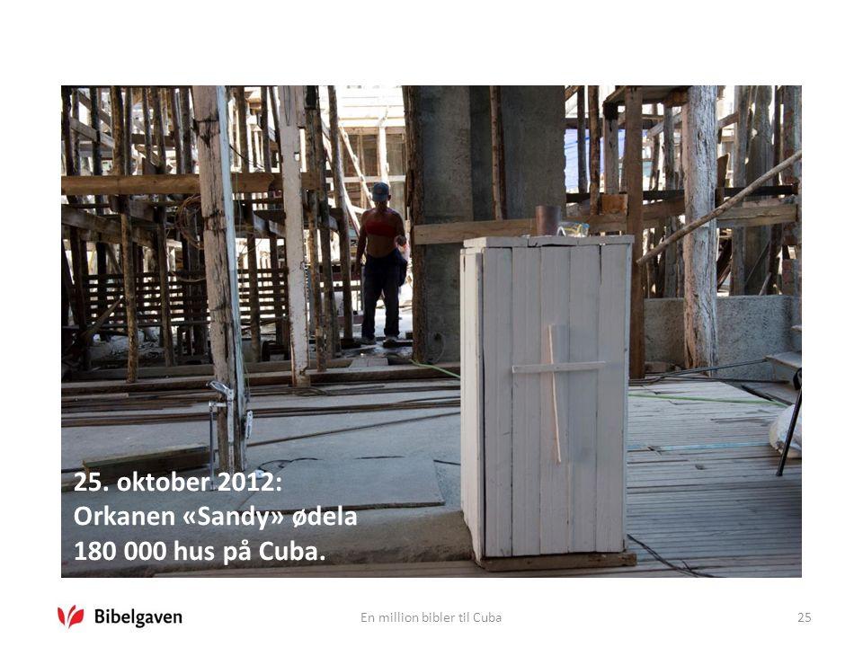 En million bibler til Cuba25 25. oktober 2012: Orkanen «Sandy» ødela 180 000 hus på Cuba.