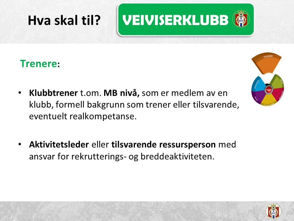 Hva skal til. Trenere : Klubbtrener t.om.