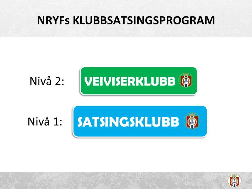 NRYFs KLUBBSATSINGSPROGRAM Nivå 1: Nivå 2: SATSINGSKLUBB VEIVISERKLUBB