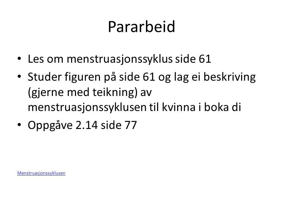 Pararbeid Les om menstruasjonssyklus side 61 Studer figuren på side 61 og lag ei beskriving (gjerne med teikning) av menstruasjonssyklusen til kvinna