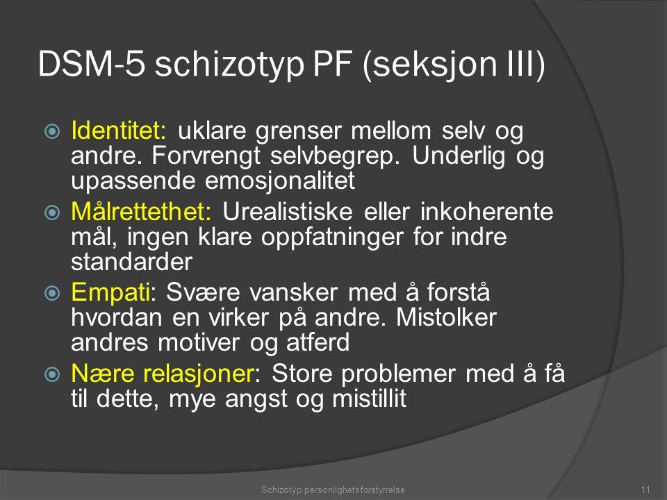 DSM-5 schizotyp PF (seksjon III)  Identitet: uklare grenser mellom selv og andre.