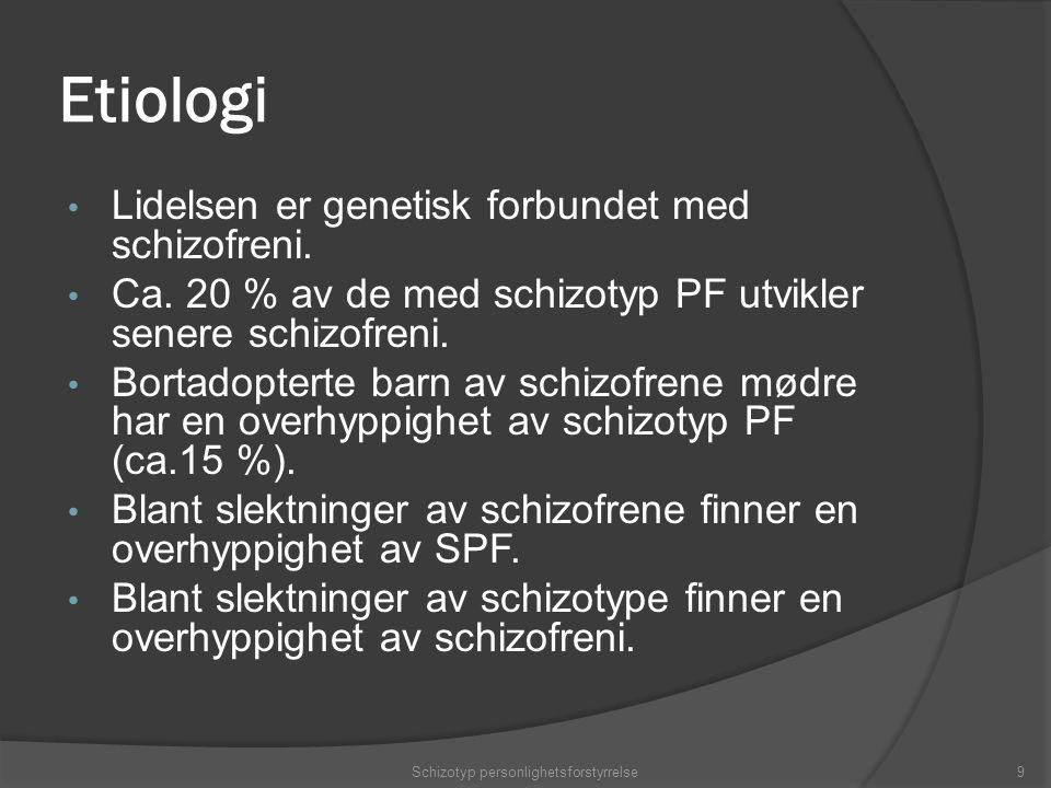Etiologi Lidelsen er genetisk forbundet med schizofreni.
