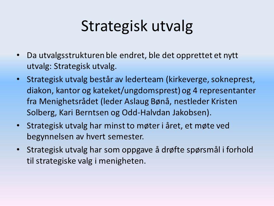 Strategisk utvalg Da utvalgsstrukturen ble endret, ble det opprettet et nytt utvalg: Strategisk utvalg. Strategisk utvalg består av lederteam (kirkeve