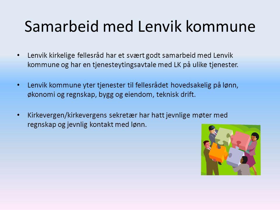 Samarbeid med Lenvik kommune Lenvik kirkelige fellesråd har et svært godt samarbeid med Lenvik kommune og har en tjenesteytingsavtale med LK på ulike tjenester.
