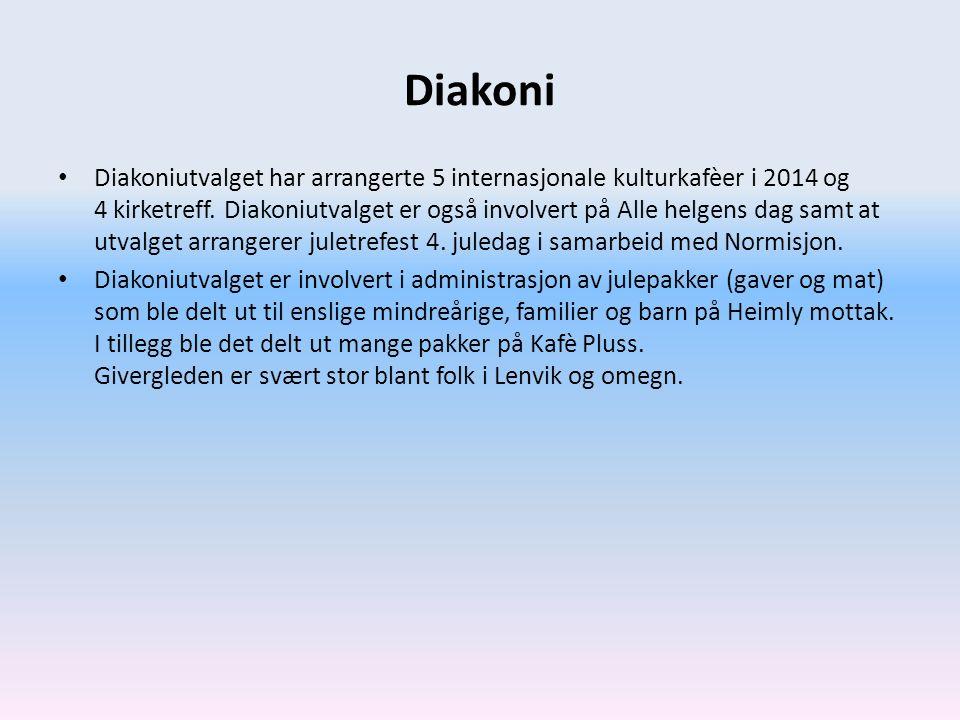 Diakoni Diakoniutvalget har arrangerte 5 internasjonale kulturkafèer i 2014 og 4 kirketreff. Diakoniutvalget er også involvert på Alle helgens dag sam