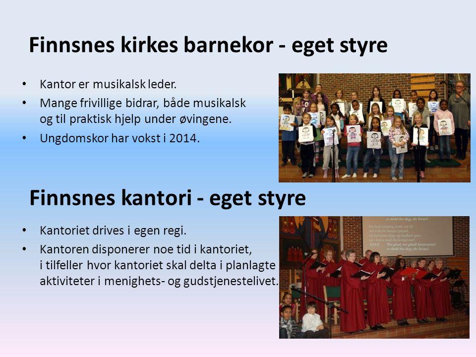 Finnsnes kirkes barnekor - eget styre Kantor er musikalsk leder. Mange frivillige bidrar, både musikalsk og til praktisk hjelp under øvingene. Ungdoms