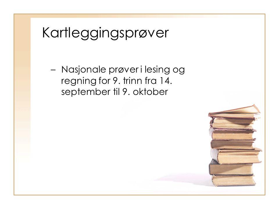 –Nasjonale prøver i lesing og regning for 9. trinn fra 14.