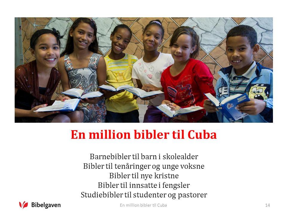 En million bibler til Cuba Barnebibler til barn i skolealder Bibler til tenåringer og unge voksne Bibler til nye kristne Bibler til innsatte i fengsler Studiebibler til studenter og pastorer En million bibler til Cuba14