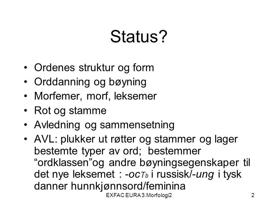 EXFAC EURA 3.Morfologi243 Bøyningskategorier (s.