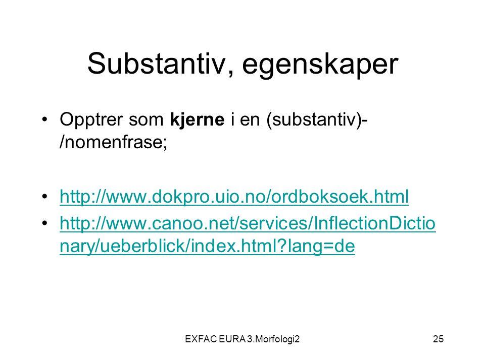 EXFAC EURA 3.Morfologi225 Substantiv, egenskaper Opptrer som kjerne i en (substantiv)- /nomenfrase; http://www.dokpro.uio.no/ordboksoek.html http://www.canoo.net/services/InflectionDictio nary/ueberblick/index.html lang=dehttp://www.canoo.net/services/InflectionDictio nary/ueberblick/index.html lang=de