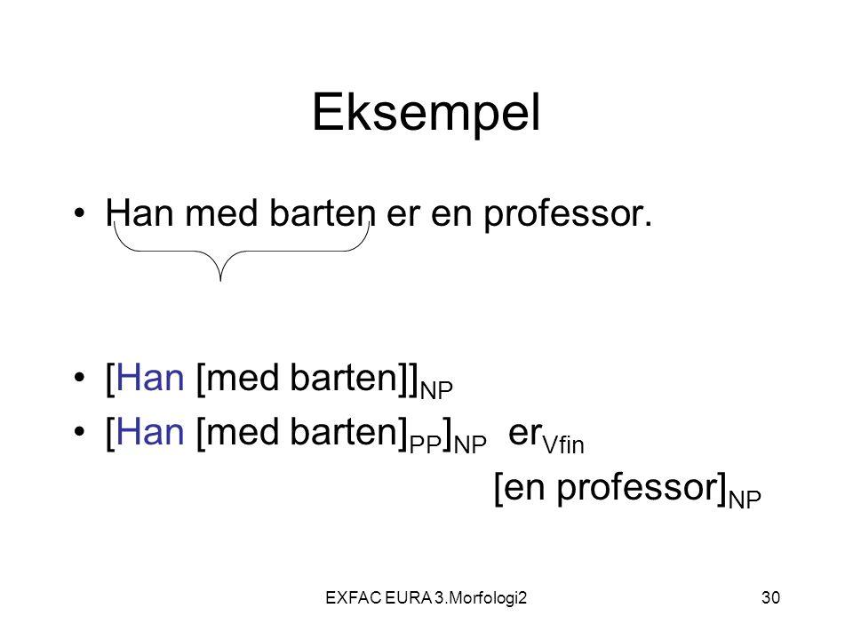 EXFAC EURA 3.Morfologi230 Eksempel Han med barten er en professor. [Han [med barten]] NP [Han [med barten] PP ] NP er Vfin [en professor] NP