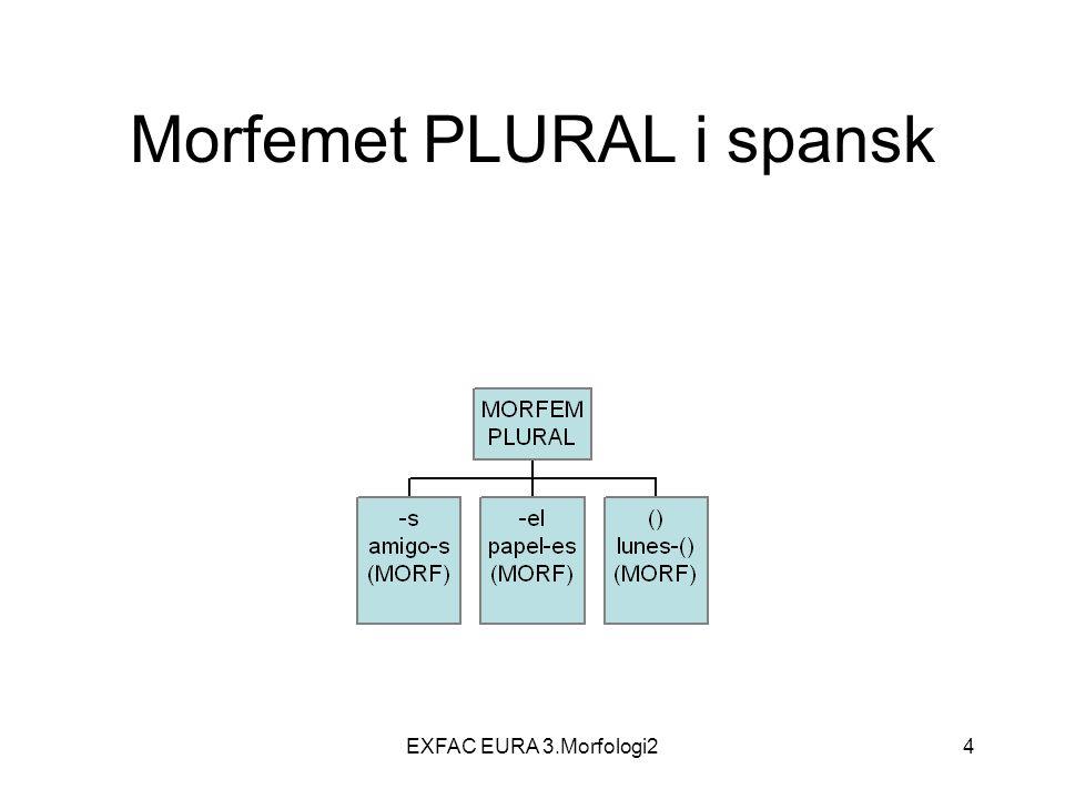 EXFAC EURA 3.Morfologi245 Bøyningstrekk De egentlige bøyningsmorfemene Bøyningstrekk innenfor en kategori utelukker hverandre, dvs.