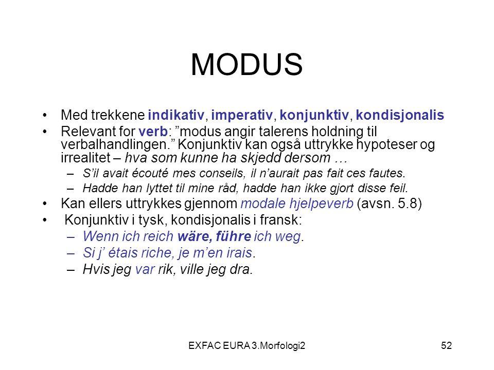 """EXFAC EURA 3.Morfologi252 MODUS Med trekkene indikativ, imperativ, konjunktiv, kondisjonalis Relevant for verb: """"modus angir talerens holdning til ver"""