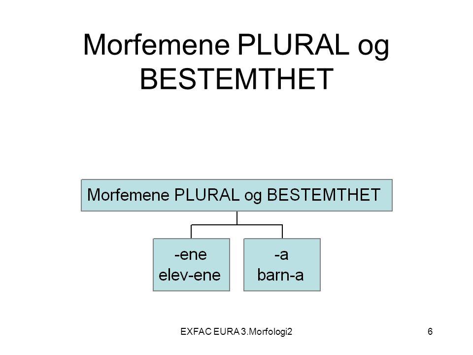 EXFAC EURA 3.Morfologi217 Ordklasser N, Adj, Det, Pron, V, P, Adv, Kon, Sub, –S=Substantiv, => N=Nomen –Adj=Adjektiv, –Det=Determinativ (artikkel, bestemmelsesord) –Pron=Pronomen –V=Verb –P=preposisjon –Adv=Adverb –Kon= Konjunksjon –Sub=Subjunksjon –Int= Interjeksjon