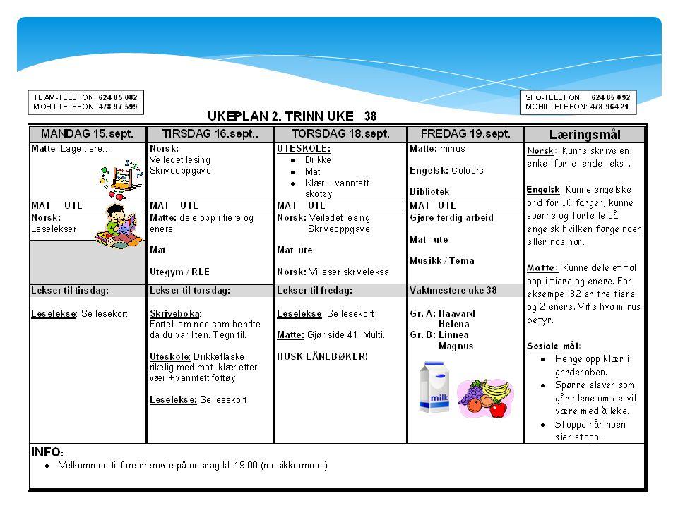  Deles ut på mandager  Mandag teoridag – ikke spesielt utstyr  Timeplan  Lekser  Info  Telefonnummer – nye 2 trinn/team/mobil  Læringsmål Ukeplan