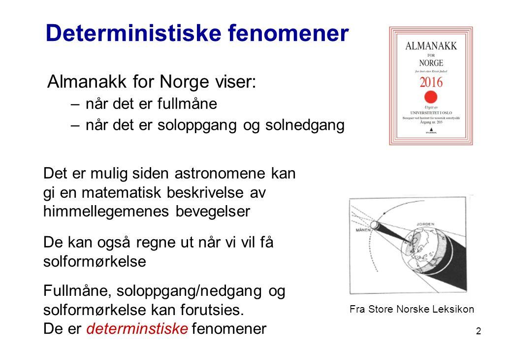 2 Deterministiske fenomener Almanakk for Norge viser: –når det er fullmåne –når det er soloppgang og solnedgang Det er mulig siden astronomene kan gi
