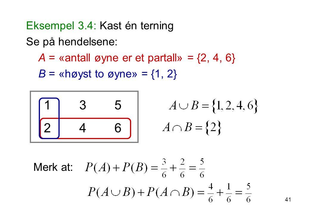 41 Eksempel 3.4: Kast én terning Se på hendelsene: A = «antall øyne er et partall» = {2, 4, 6} B = «høyst to øyne» = {1, 2} 1 3 5 2 4 6 Merk at:
