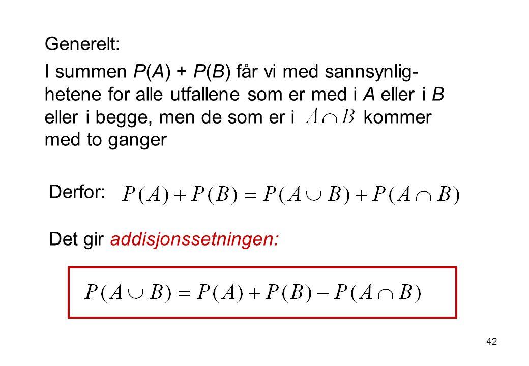 42 Generelt: I summen P(A) + P(B) får vi med sannsynlig- hetene for alle utfallene som er med i A eller i B eller i begge, men de som er i kommer med