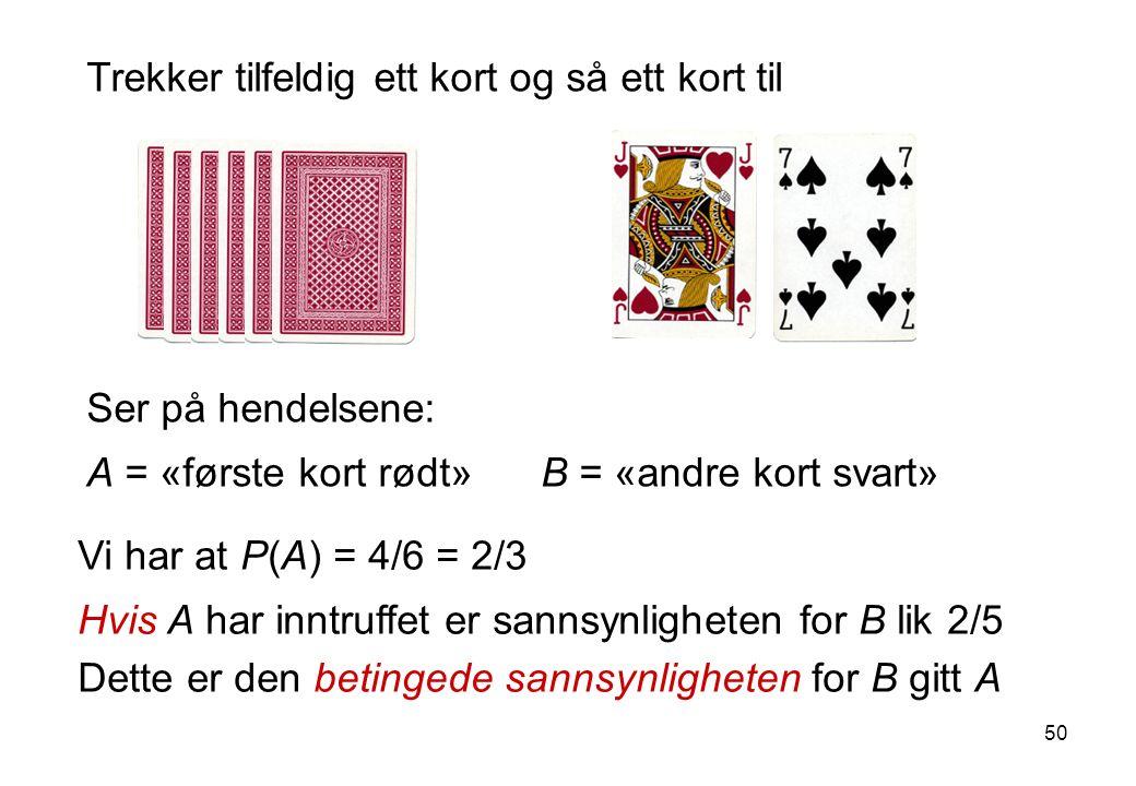50 Ser på hendelsene: A = «første kort rødt» B = «andre kort svart» Trekker tilfeldig ett kort og så ett kort til Vi har at P(A) = 4/6 = 2/3 Hvis A ha