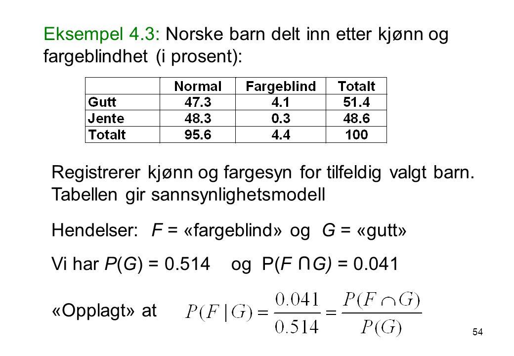 54 Eksempel 4.3: Norske barn delt inn etter kjønn og fargeblindhet (i prosent): Registrerer kjønn og fargesyn for tilfeldig valgt barn. Tabellen gir s