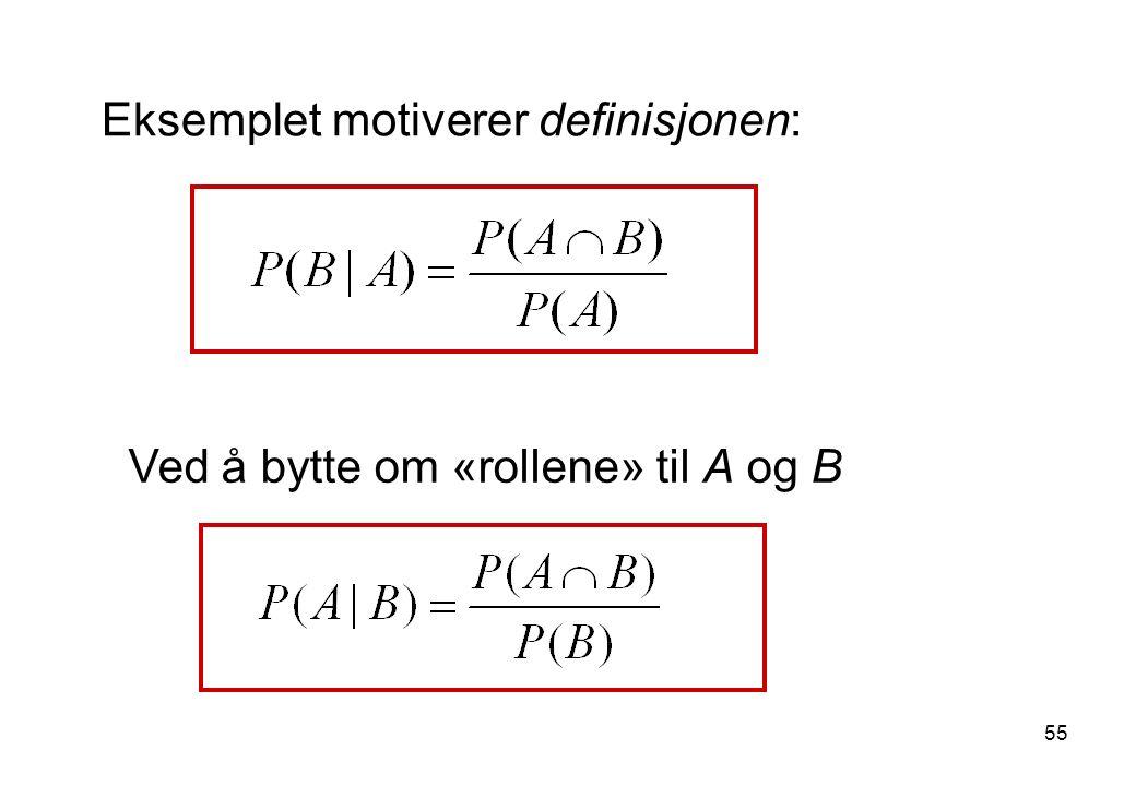 55 Eksemplet motiverer definisjonen: Ved å bytte om «rollene» til A og B
