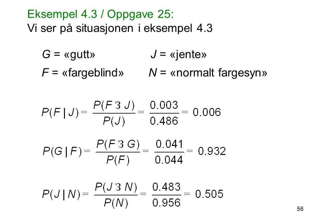 56 G = «gutt» J = «jente» F = «fargeblind» N = «normalt fargesyn» Eksempel 4.3 / Oppgave 25: Vi ser på situasjonen i eksempel 4.3