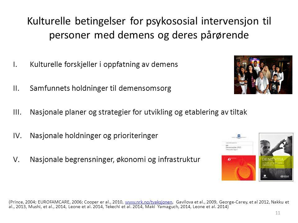 Kulturelle betingelser for psykososial intervensjon til personer med demens og deres pårørende I.Kulturelle forskjeller i oppfatning av demens II.Samfunnets holdninger til demensomsorg III.Nasjonale planer og strategier for utvikling og etablering av tiltak IV.Nasjonale holdninger og prioriteringer V.Nasjonale begrensninger, økonomi og infrastruktur (Prince, 2004; EUROFAMCARE, 2006; Cooper er al., 2010, www.nrk.no/tvaksjonen, Gavilova et al., 2009, George-Carey, et al 2012, Nakku et al., 2013, Mushi, et al., 2014, Leone et al.