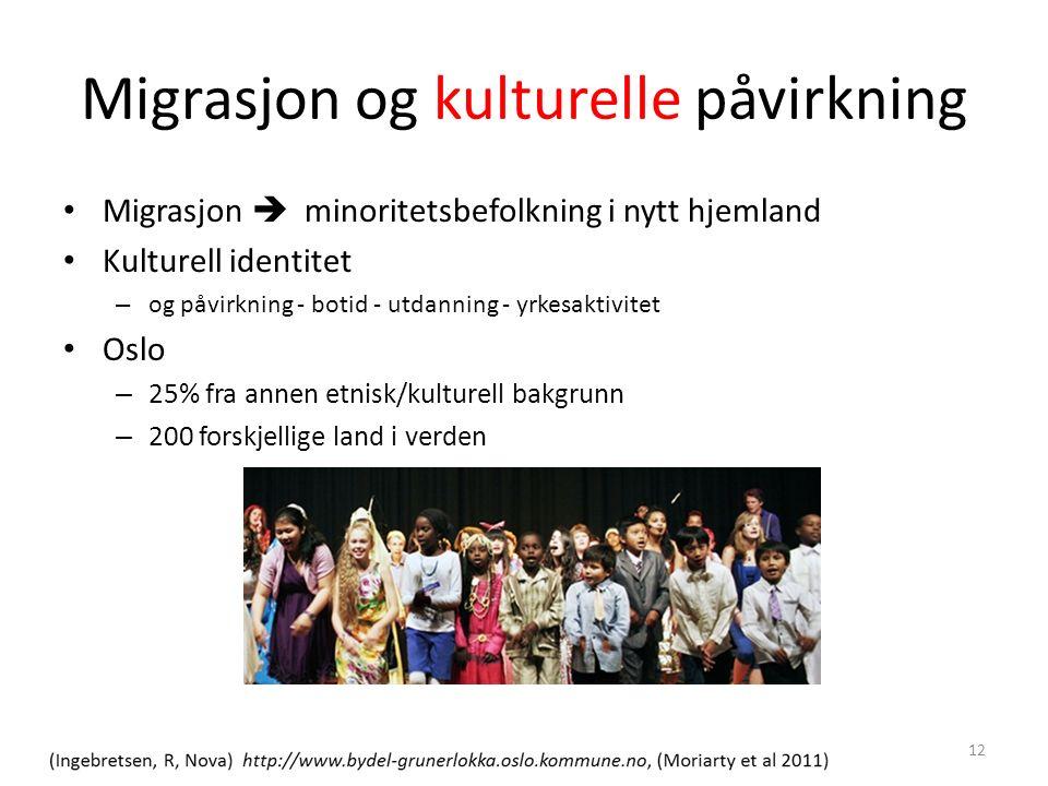 Migrasjon og kulturelle påvirkning Migrasjon  minoritetsbefolkning i nytt hjemland Kulturell identitet – og påvirkning - botid - utdanning - yrkesaktivitet Oslo – 25% fra annen etnisk/kulturell bakgrunn – 200 forskjellige land i verden 12