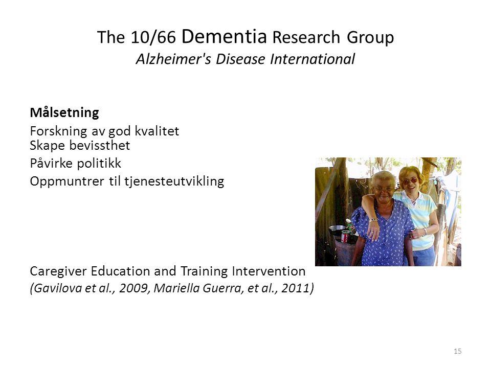 The 10/66 Dementia Research Group Alzheimer s Disease International Målsetning Forskning av god kvalitet Skape bevissthet Påvirke politikk Oppmuntrer til tjenesteutvikling Caregiver Education and Training Intervention (Gavilova et al., 2009, Mariella Guerra, et al., 2011) 15