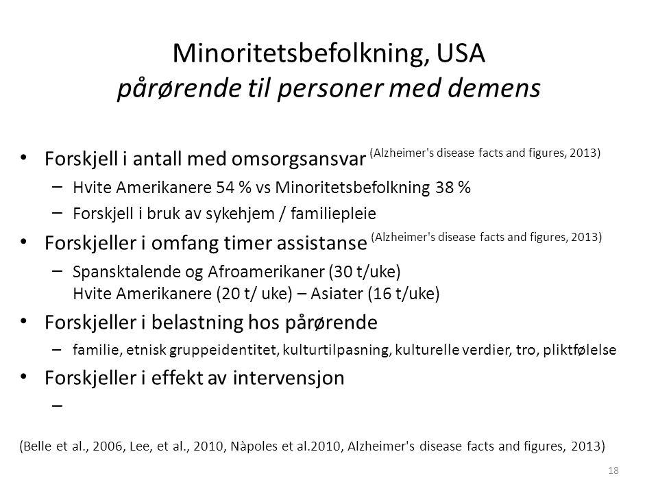 Minoritetsbefolkning, USA pårørende til personer med demens Forskjell i antall med omsorgsansvar (Alzheimer s disease facts and figures, 2013) – Hvite Amerikanere 54 % vs Minoritetsbefolkning 38 % – Forskjell i bruk av sykehjem / familiepleie Forskjeller i omfang timer assistanse (Alzheimer s disease facts and figures, 2013) – Spansktalende og Afroamerikaner (30 t/uke) Hvite Amerikanere (20 t/ uke) – Asiater (16 t/uke) Forskjeller i belastning hos pårørende – familie, etnisk gruppeidentitet, kulturtilpasning, kulturelle verdier, tro, pliktfølelse Forskjeller i effekt av intervensjon – (Belle et al., 2006, Lee, et al., 2010, Nàpoles et al.2010, Alzheimer s disease facts and figures, 2013) 18