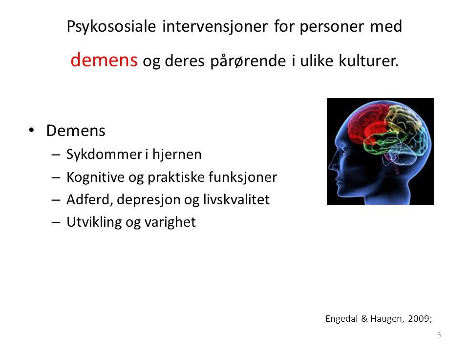 Psykososiale intervensjoner for personer med demens og deres pårørende i ulike kulturer.
