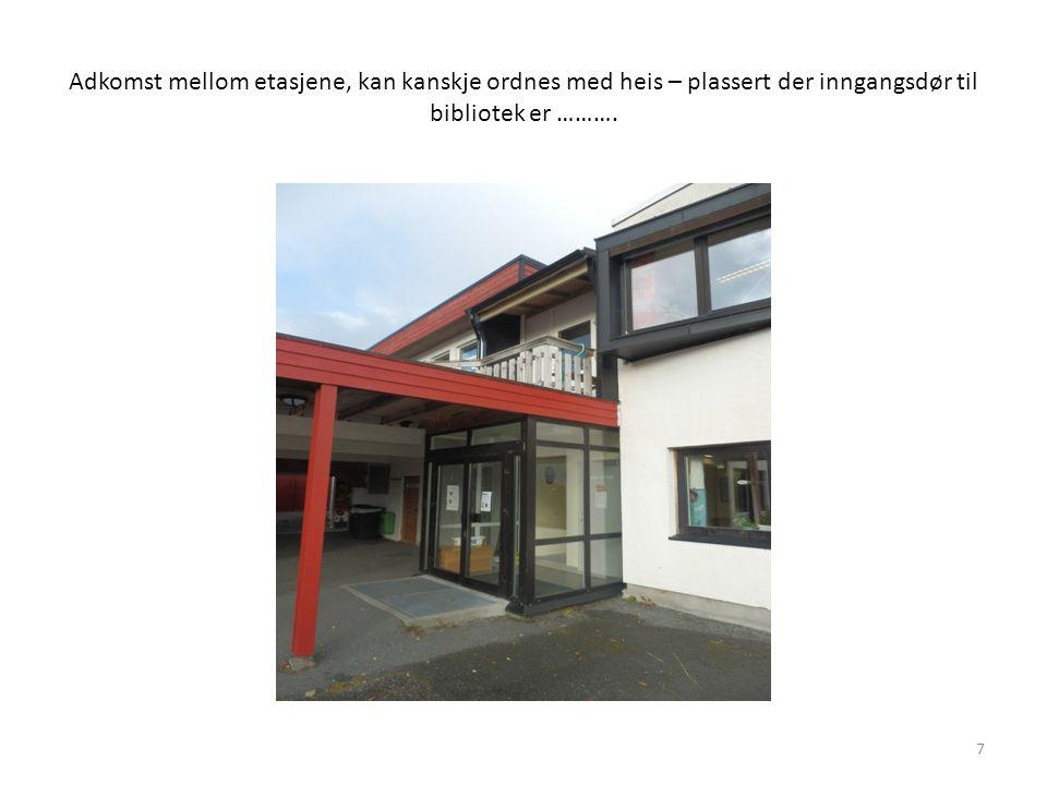 Adkomst mellom etasjene, kan kanskje ordnes med heis – plassert der inngangsdør til bibliotek er ……….