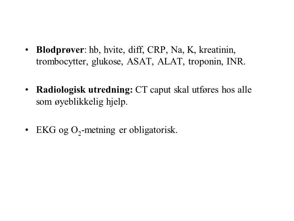 Blodprøver: hb, hvite, diff, CRP, Na, K, kreatinin, trombocytter, glukose, ASAT, ALAT, troponin, INR.