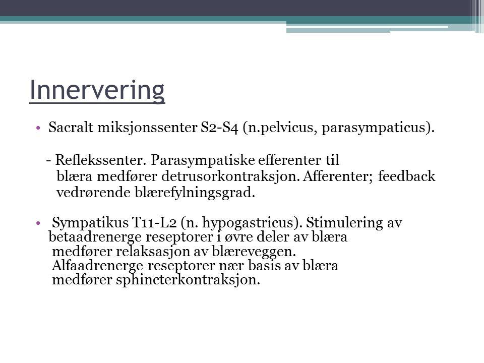 Innervering Sacralt miksjonssenter S2-S4 (n.pelvicus, parasympaticus). - Reflekssenter. Parasympatiske efferenter til blæra medfører detrusorkontraksj