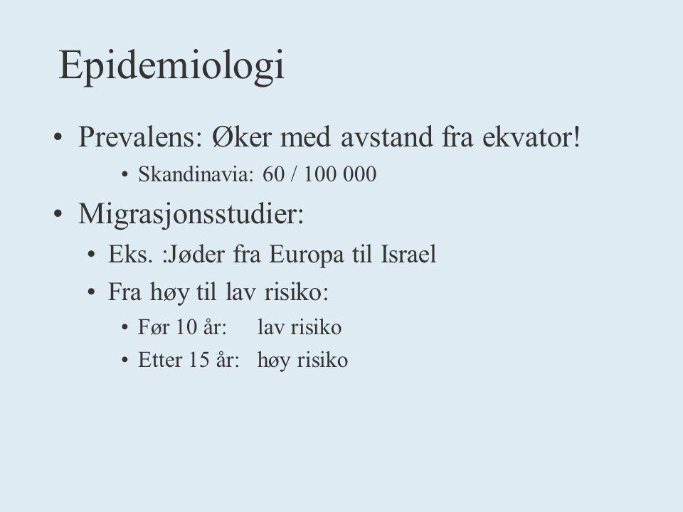 Epidemiologi Prevalens: Øker med avstand fra ekvator.