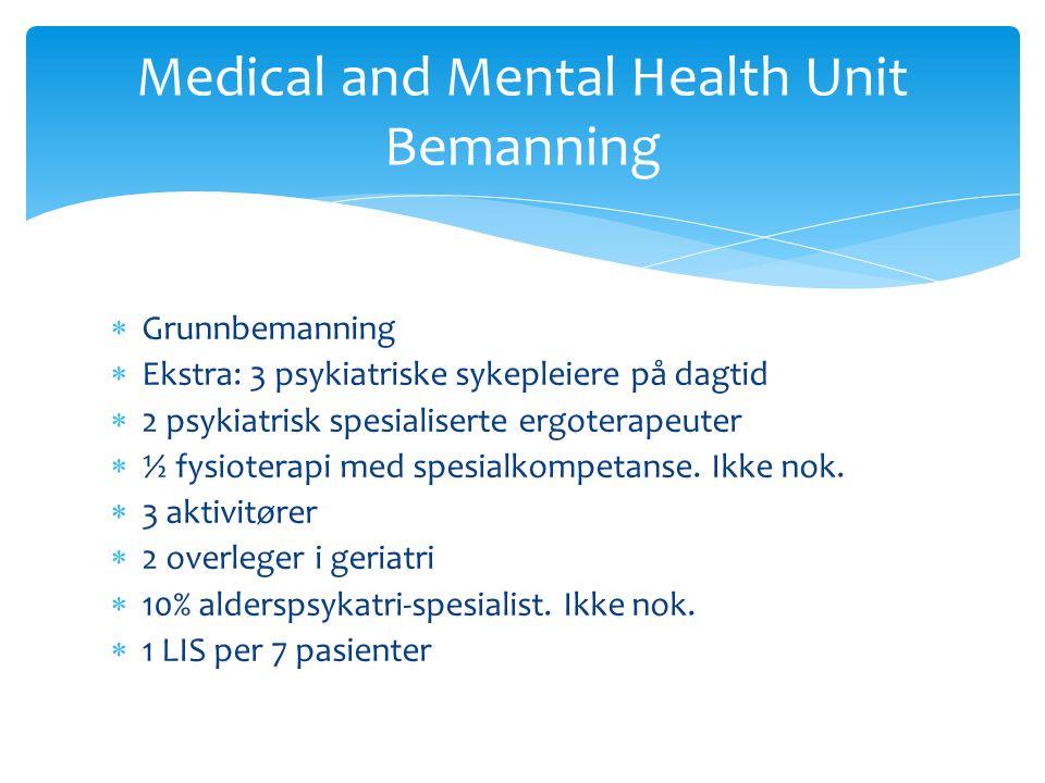  Grunnbemanning  Ekstra: 3 psykiatriske sykepleiere på dagtid  2 psykiatrisk spesialiserte ergoterapeuter  ½ fysioterapi med spesialkompetanse.