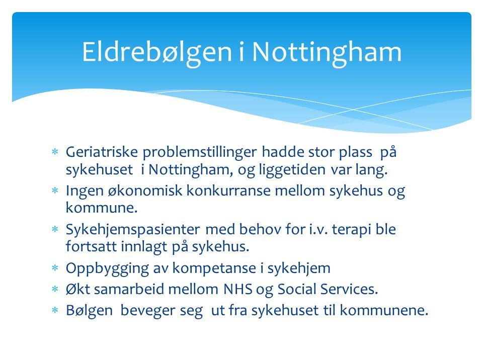  Geriatriske problemstillinger hadde stor plass på sykehuset i Nottingham, og liggetiden var lang.