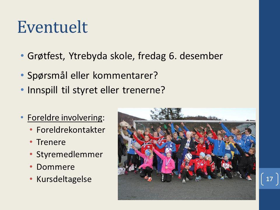 Eventuelt Grøtfest, Ytrebyda skole, fredag 6. desember Spørsmål eller kommentarer? Innspill til styret eller trenerne? Foreldre involvering: Foreldrek