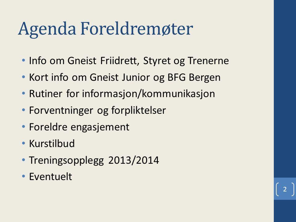 Agenda Foreldremøter Info om Gneist Friidrett, Styret og Trenerne Kort info om Gneist Junior og BFG Bergen Rutiner for informasjon/kommunikasjon Forve