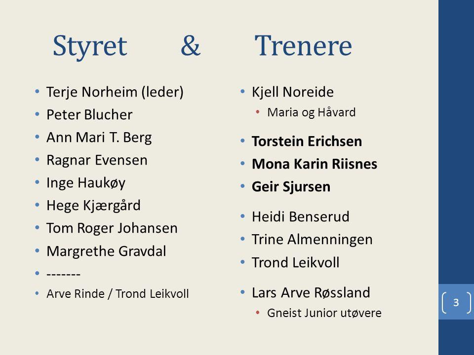 Styret & Trenere Terje Norheim (leder) Peter Blucher Ann Mari T. Berg Ragnar Evensen Inge Haukøy Hege Kjærgård Tom Roger Johansen Margrethe Gravdal --