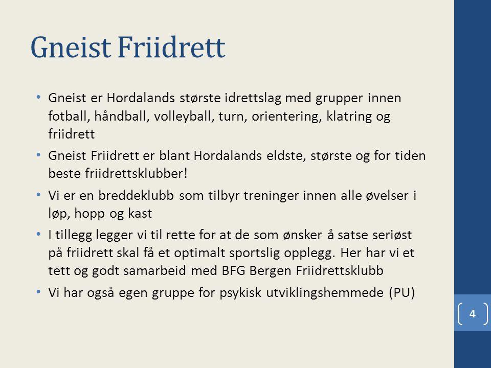 Gneist Friidrett Gneist er Hordalands største idrettslag med grupper innen fotball, håndball, volleyball, turn, orientering, klatring og friidrett Gneist Friidrett er blant Hordalands eldste, største og for tiden beste friidrettsklubber.