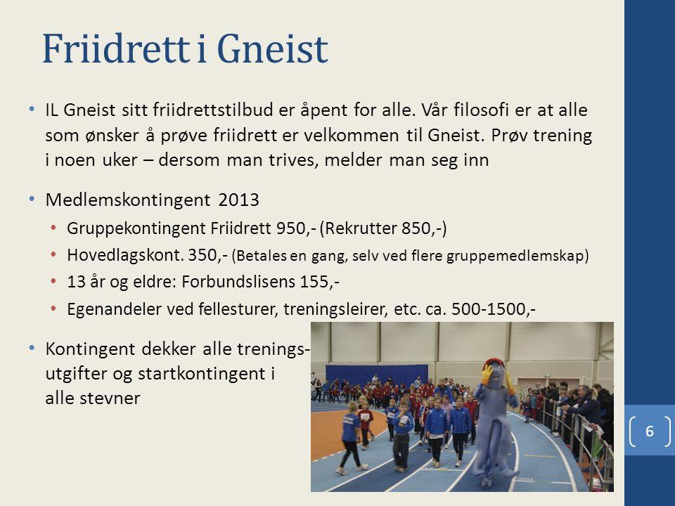Friidrett i Gneist IL Gneist sitt friidrettstilbud er åpent for alle. Vår filosofi er at alle som ønsker å prøve friidrett er velkommen til Gneist. Pr