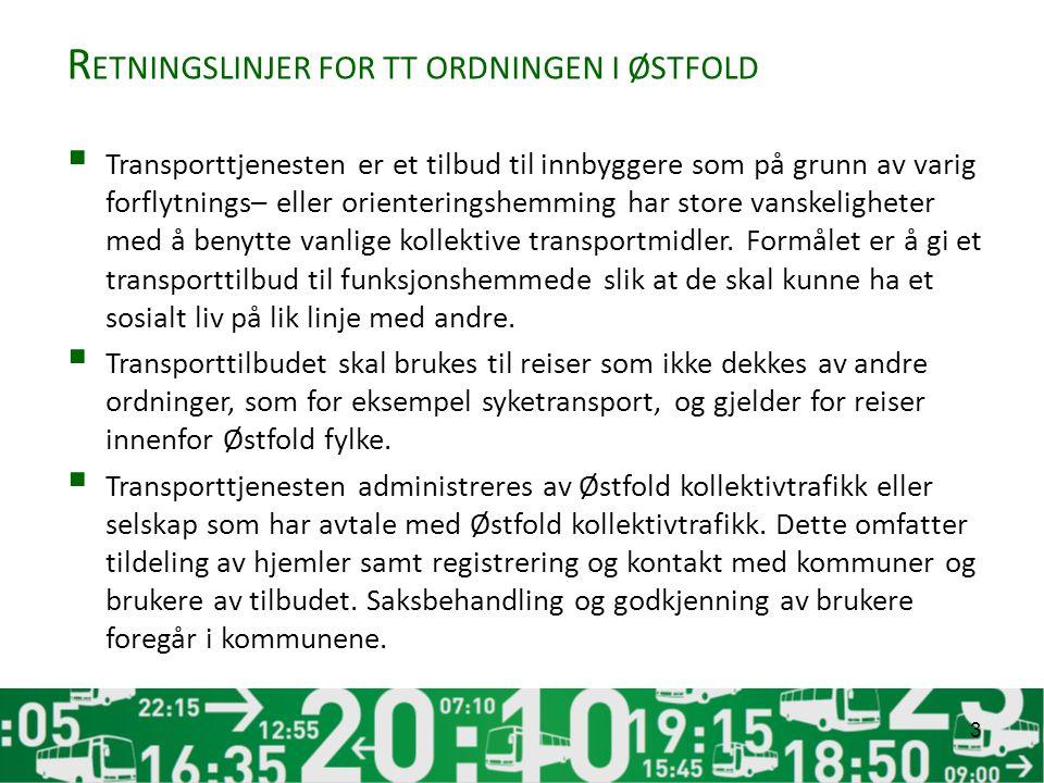 R ETNINGSLINJER FOR TT ORDNINGEN I ØSTFOLD  Transporttjenesten er et tilbud til innbyggere som på grunn av varig forflytnings– eller orienteringshemming har store vanskeligheter med å benytte vanlige kollektive transportmidler.