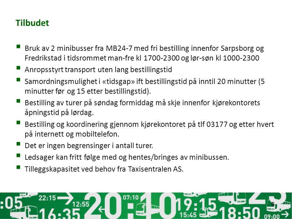 Tilbudet  Bruk av 2 minibusser fra MB24-7 med fri bestilling innenfor Sarpsborg og Fredrikstad i tidsrommet man-fre kl 1700-2300 og lør-søn kl 1000-2