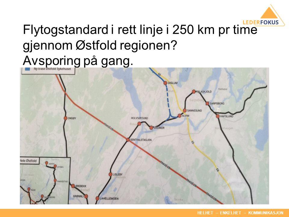 HELHET – ENKELHET – KOMMUNIKASJON Flytogstandard i rett linje i 250 km pr time gjennom Østfold regionen.