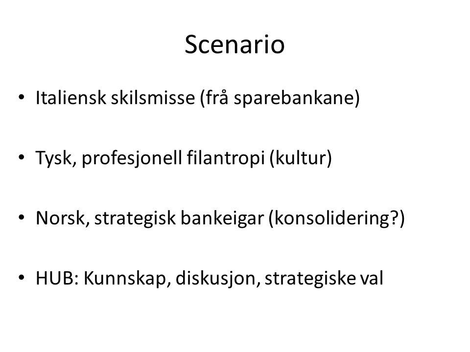 Scenario Italiensk skilsmisse (frå sparebankane) Tysk, profesjonell filantropi (kultur) Norsk, strategisk bankeigar (konsolidering?) HUB: Kunnskap, diskusjon, strategiske val