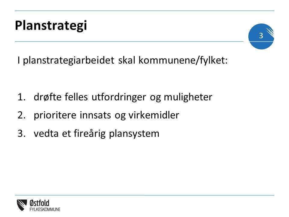 Planstrategi I planstrategiarbeidet skal kommunene/fylket: 1.drøfte felles utfordringer og muligheter 2.prioritere innsats og virkemidler 3.vedta et f