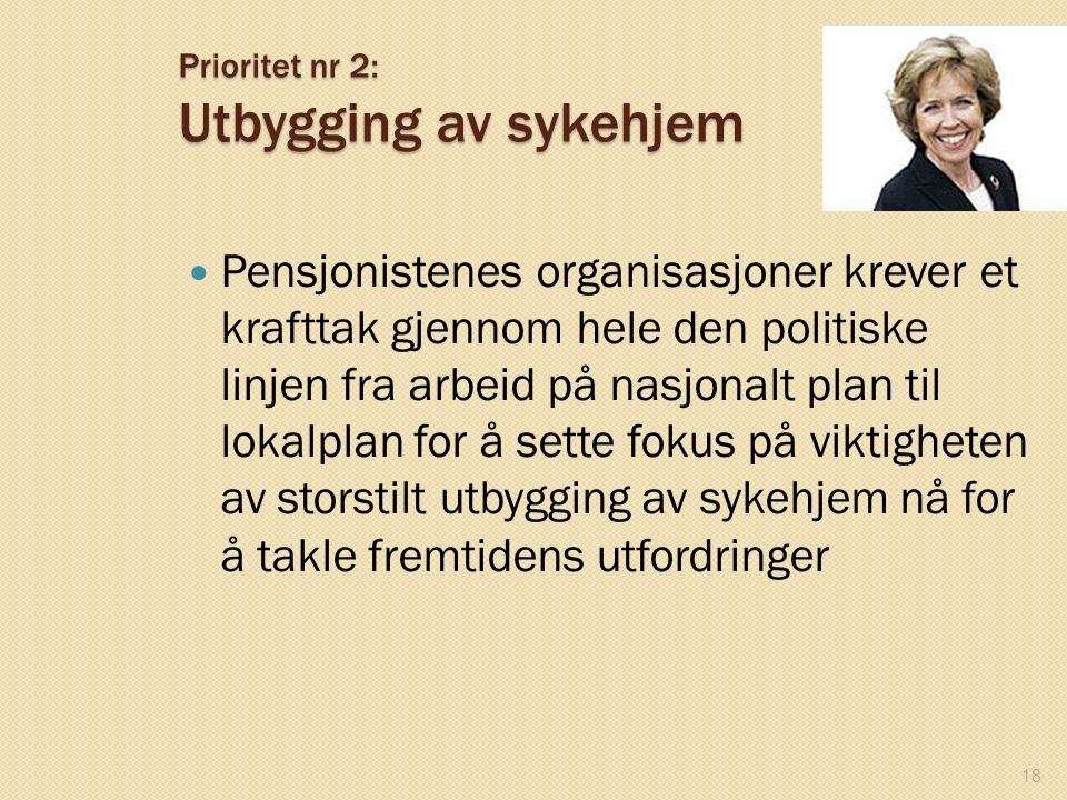 Prioritet nr 2: Utbygging av sykehjem Pensjonistenes organisasjoner krever et krafttak gjennom hele den politiske linjen fra arbeid på nasjonalt plan
